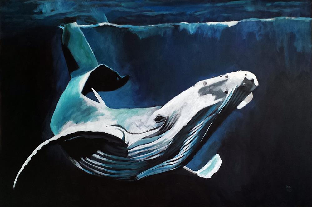 """""""Humpback Whale acrylic painting"""" original fine art by Ria Hills"""