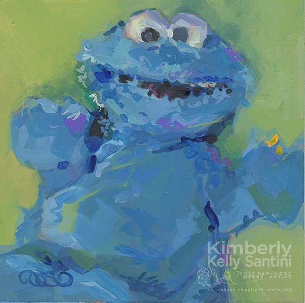"""""""Cookie Monster, Toy #6"""" original fine art by Kimberly Santini"""
