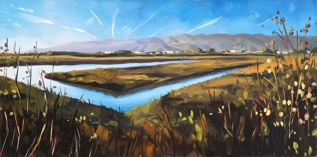 """Carpinteria Salt Marsh - 12x24"" original fine art by Sharon Schock"