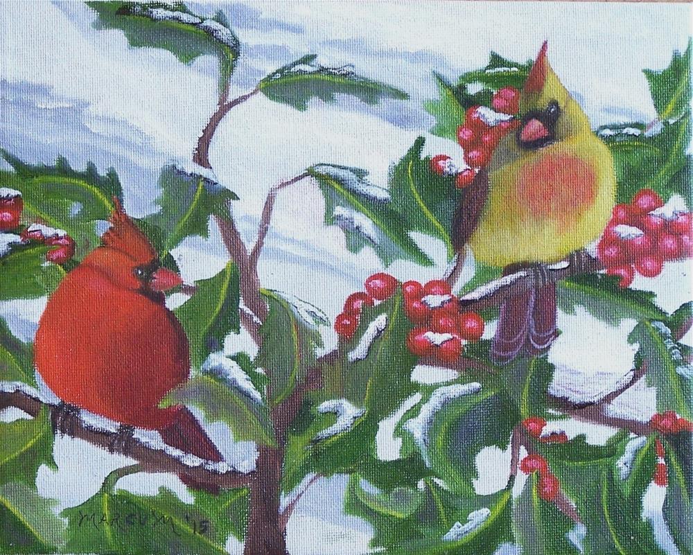 """Cardinal pair in Holly"" original fine art by John Marcum"