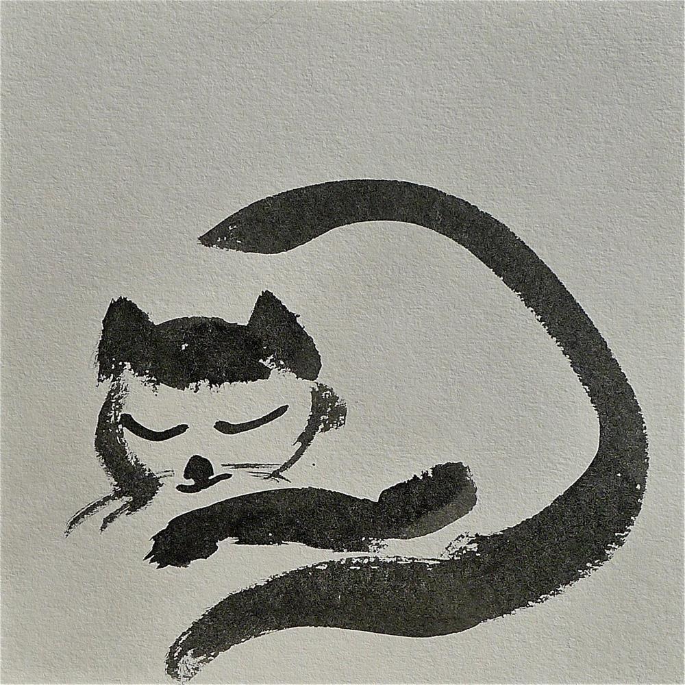"""Sleeping cat"" original fine art by Ulrike Schmidt"