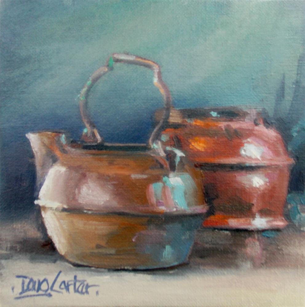 """"""" Brass and Iron Tea Pots """" original fine art by Doug Carter"""