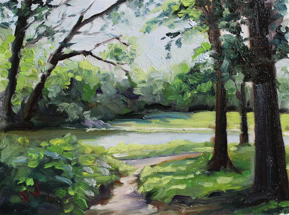 """Pond at Stone Park"" original fine art by H.F. Wallen"