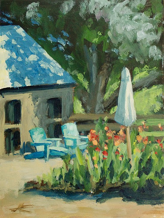 """Blue Chairs Again"" original fine art by J. Farnsworth"
