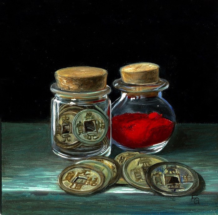 """""""Song Dynasty Coins and Vermillion Pigment"""" original fine art by Frankie Gollub"""