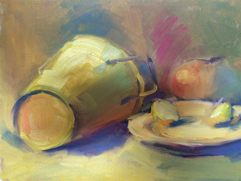 """Yellow still life"" original fine art by Naomi Bautista"