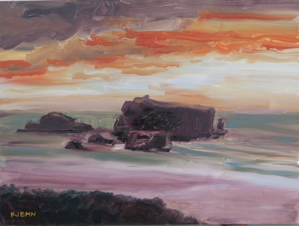 """""""Red Skies at  Night"""" original fine art by Richard Kiehn"""