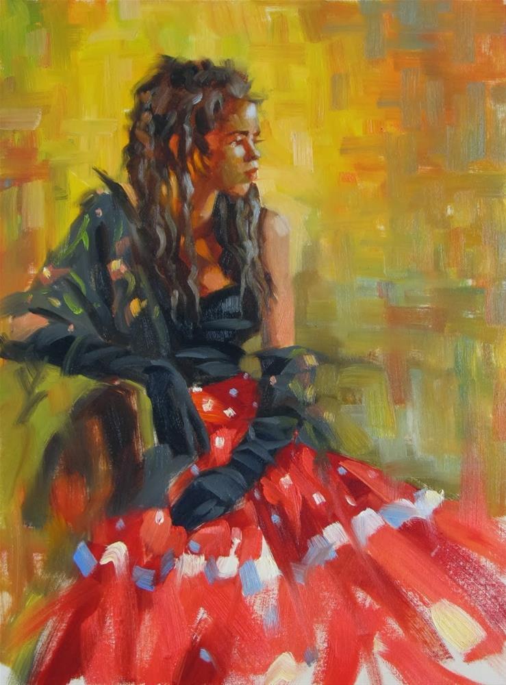 """Between dances  12x16  oil"" original fine art by Claudia Hammer"