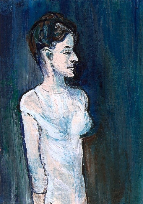 """ACEO Girl in a Chemise ala Picasso acrylic Blue Period Painting Penny StewArt"" original fine art by Penny Lee StewArt"