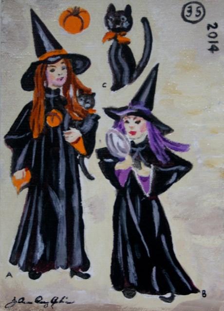 """Little Witches"" original fine art by JoAnne Perez Robinson"
