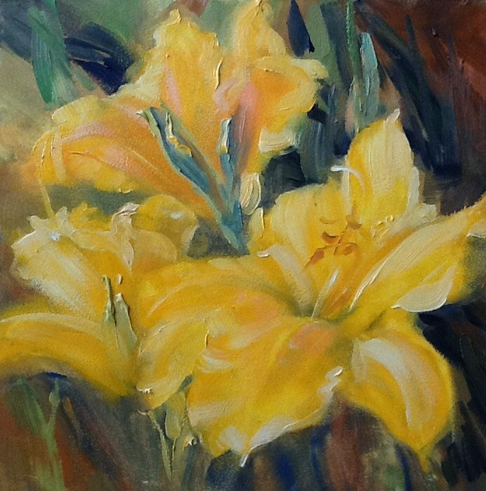 """Yellow Daylilies"" original fine art by Jean Fitzgerald"
