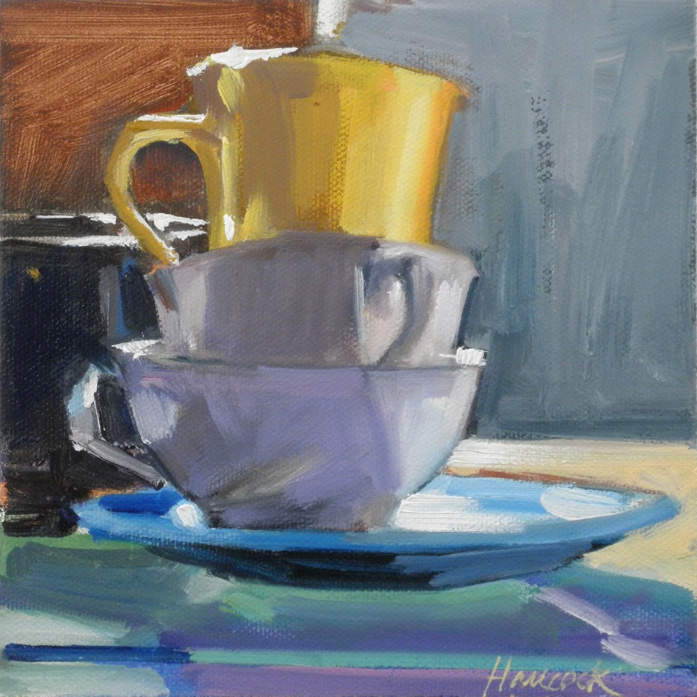 """Turquoise Plate Yellow Cup and Sienna Wall"" original fine art by Gretchen Hancock"