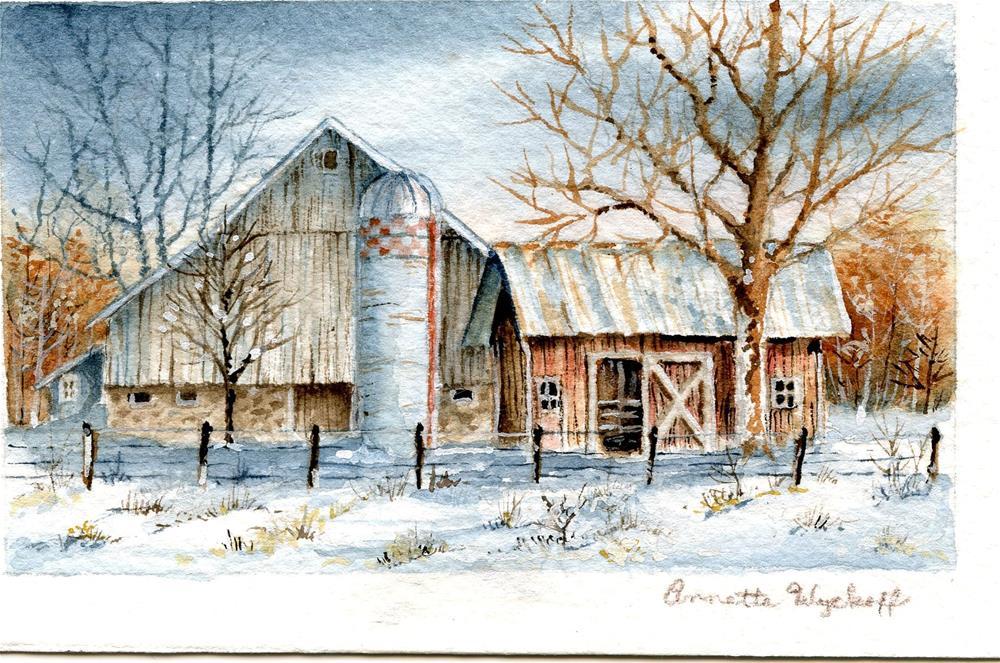 """Old Barns"" original fine art by Annette Wyckoff"