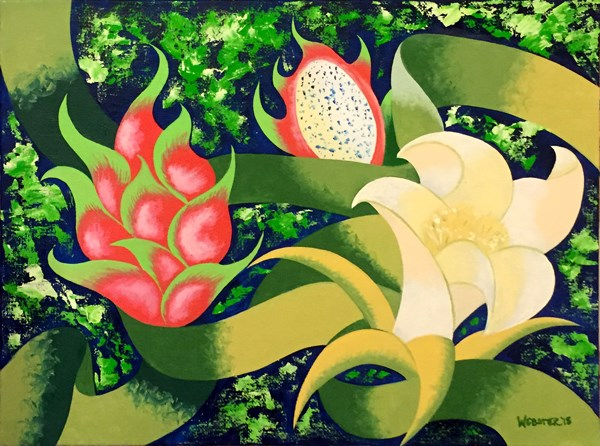 """Mark Webster - Dragon Fruit - Abstract Geometric Futurist Still Life Oil Painting"" original fine art by Mark Webster"