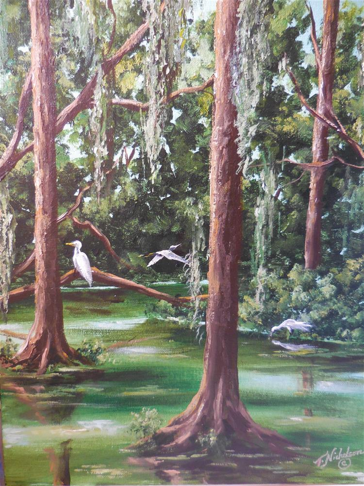 """Egrets"" original fine art by Terri Nicholson"