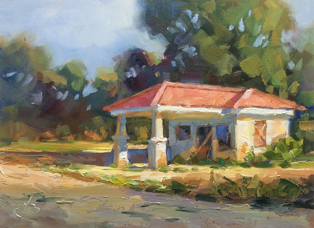 """ABANDONED RETRO GAS STATION"" original fine art by Tom Brown"