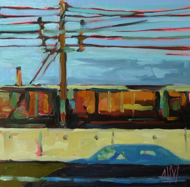 """""""Drive By  6x6 oil on gesso board My hubby and I do a lot of road trips and I love watching the world go by. So many 'ordinary' scenes which can be painted to look extraordinary."""" original fine art by Mary Sheehan Winn"""