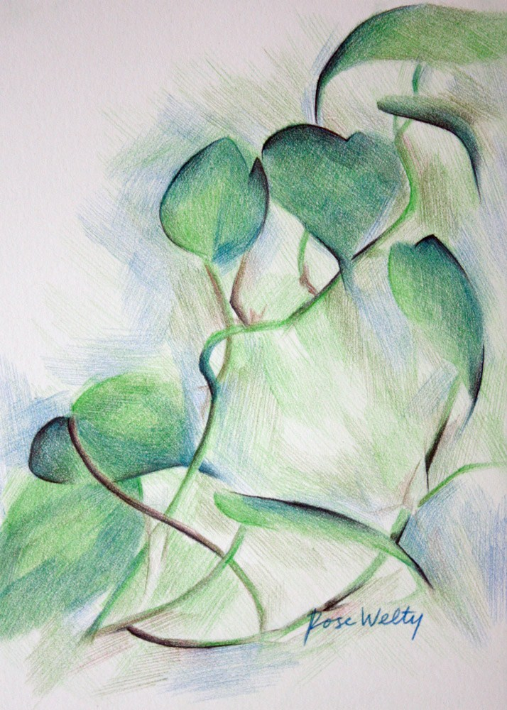 """""""Dance of the Houseplant"""" original fine art by Rose Welty"""