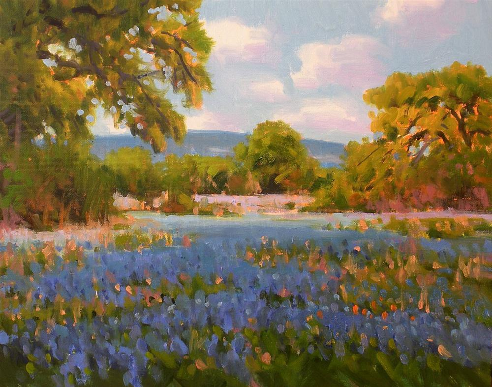 """Hill Country Oaks and Bonnets"" original fine art by David Forks"