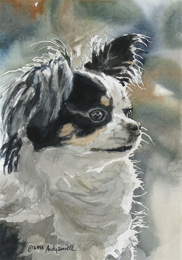 """doggie hilites"" original fine art by Andy Sewell"