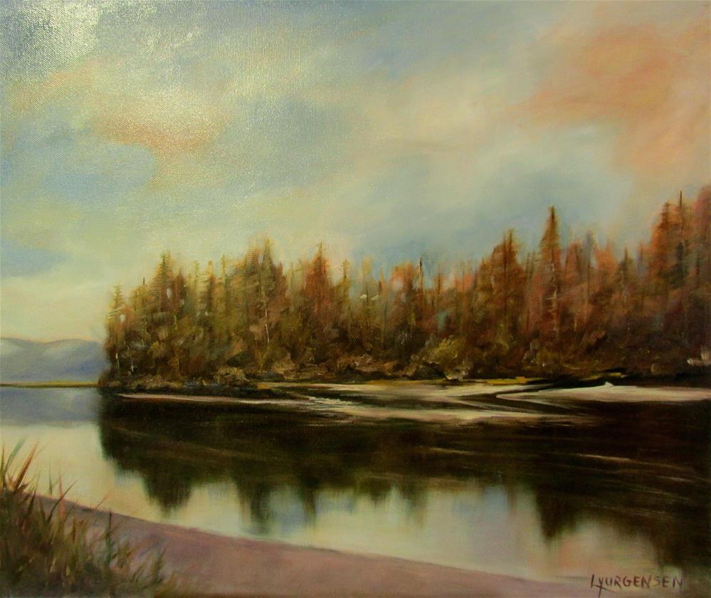 """20 x 24 inch oil Cowichan Outlet"" original fine art by Linda Yurgensen"