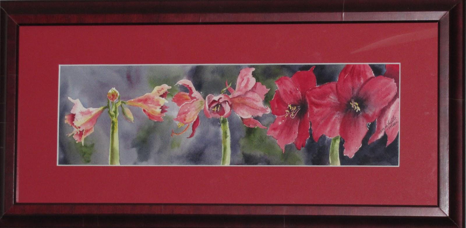 """""""Amaryllis in Bloom"""" original fine art by Michelle Wolfe"""