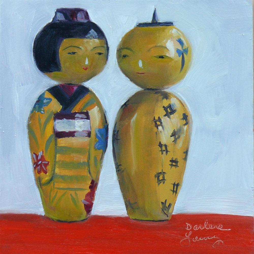 """622 The Perfect Match Japan Dolls"" original fine art by Darlene Young"