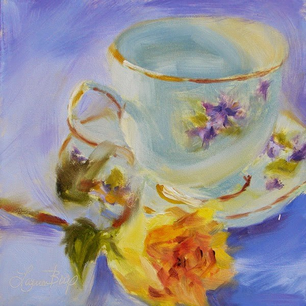 """""""Yellow Rose and Teacup - 301"""" original fine art by Laura  Buxo"""