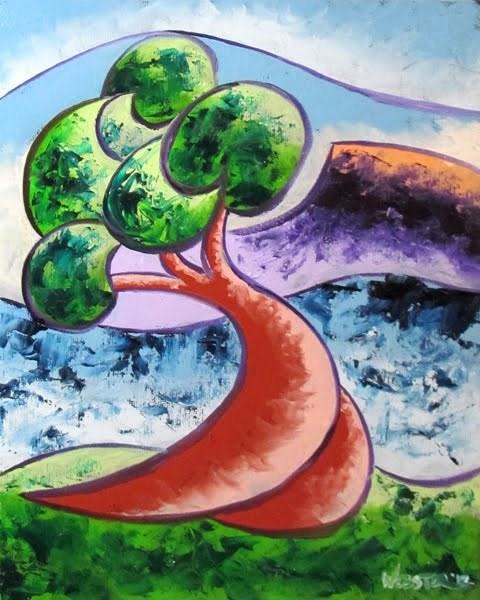 """Mark Webster - Abstract Rough Futurist Landscape Oil Painting"" original fine art by Mark Webster"