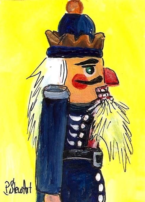 """ACEO Nutcracker Painting King Side View Blue Yellow Acrylic Art SFA Penny StewArt"" original fine art by Penny Lee StewArt"