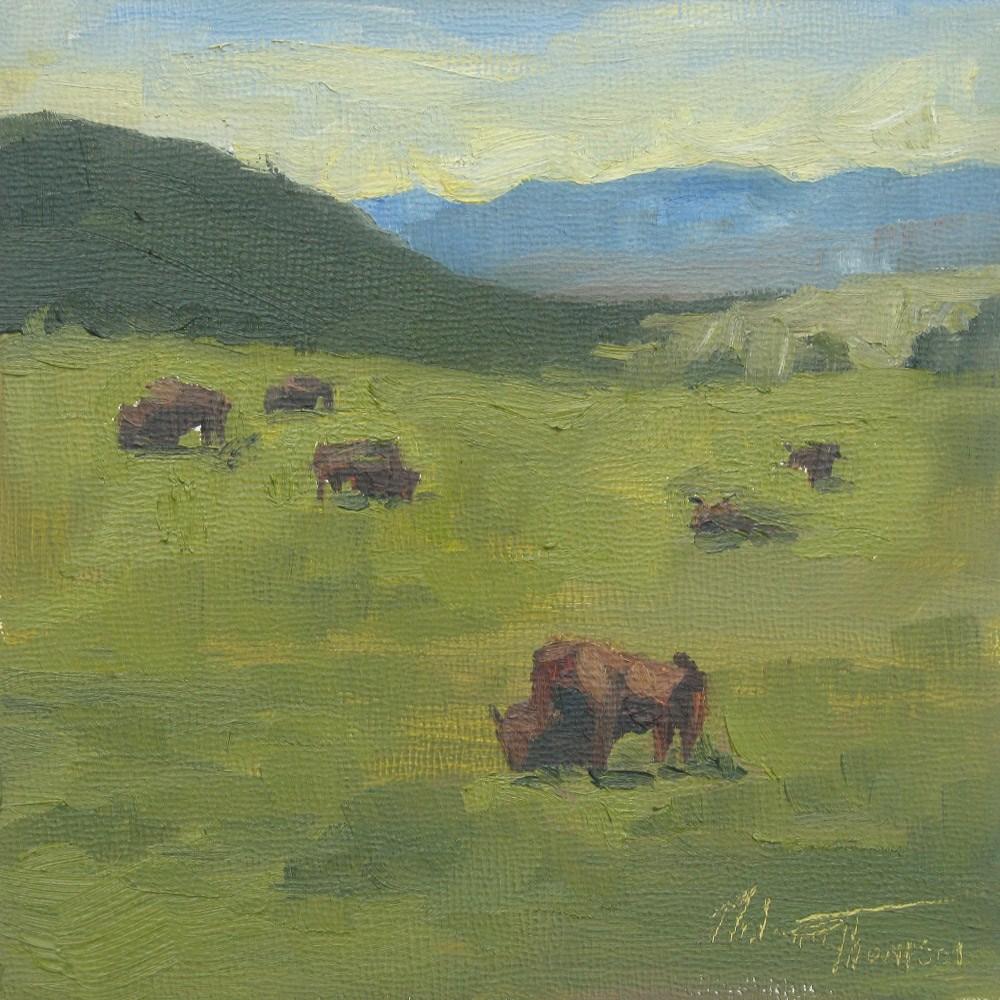 """""""Sauk Prairie Bison"""" original fine art by Melanie Thompson"""