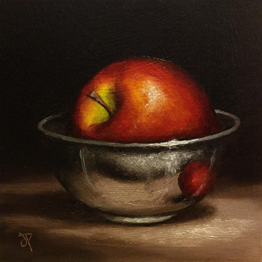 """Red apple in silver bowl"" original fine art by Jane Palmer"