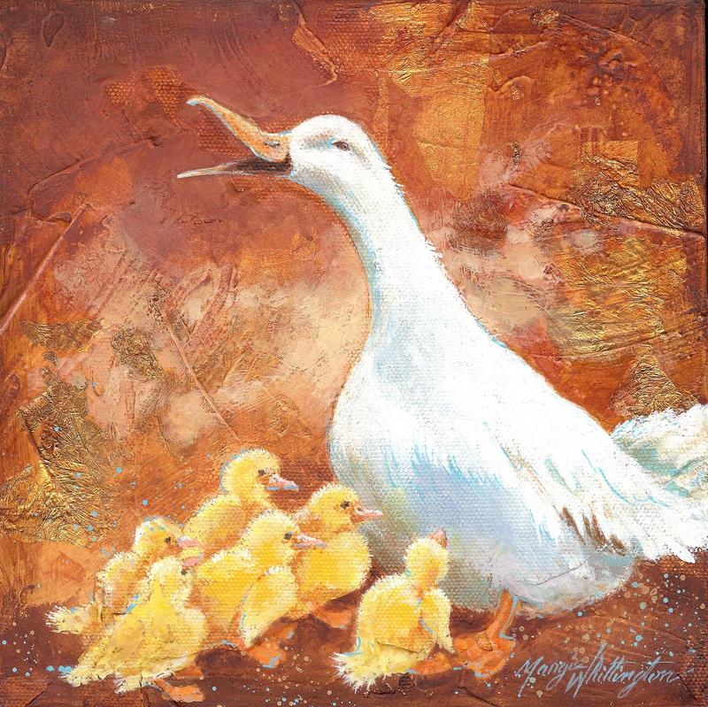 """""""Duck and Ducklings"""" original fine art by Margie Whittington"""