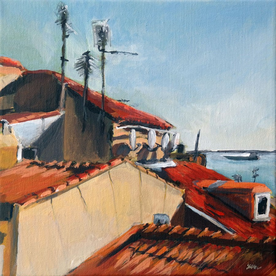 """1267 Sloping Roofs"" original fine art by Dietmar Stiller"