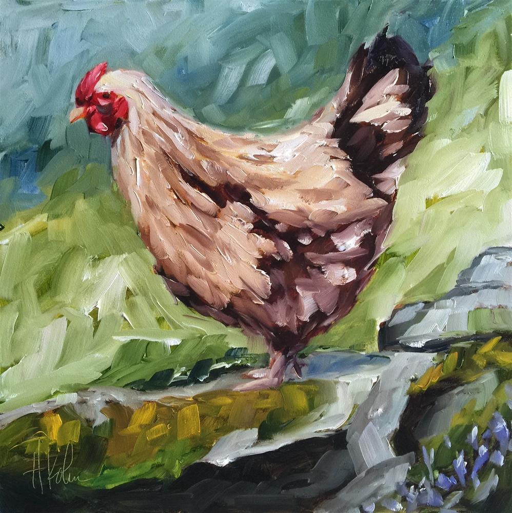 """""""Fearless Chicken"""" original fine art by Hallie Kohn"""