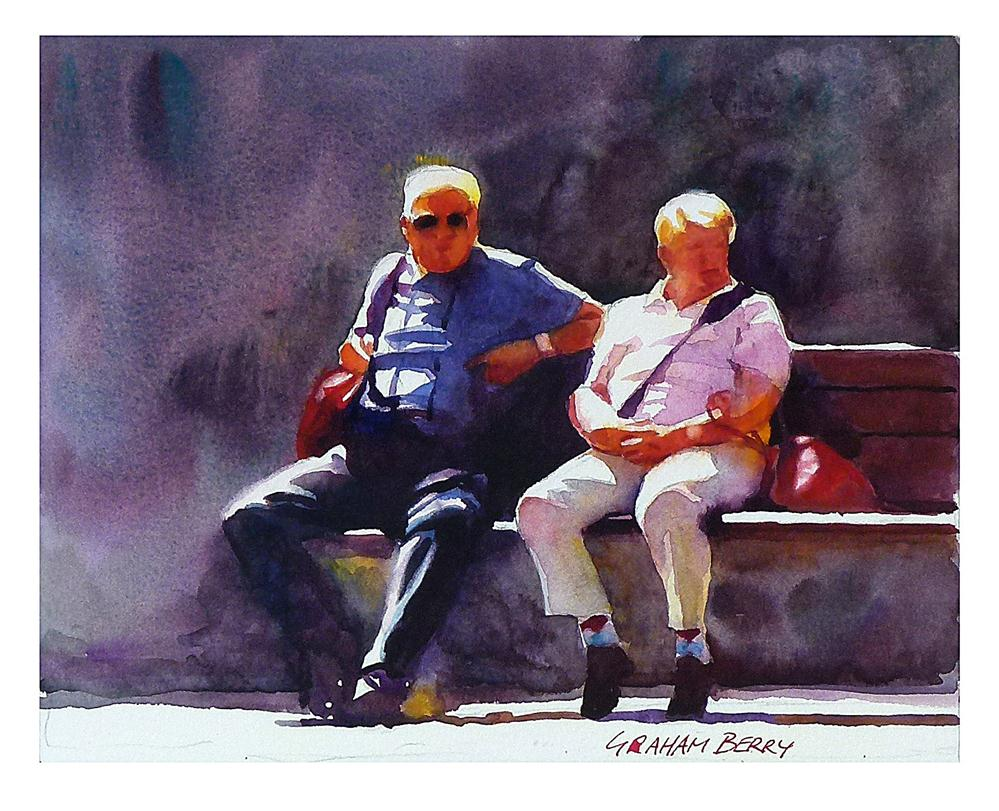 """Couple sat on bench."" original fine art by Graham Berry"