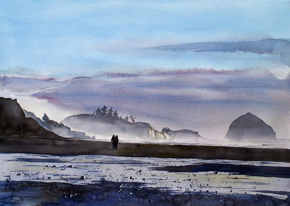 """""""Evening Stroll (Pacific City Oregon)"""" original fine art by Andy Sewell"""