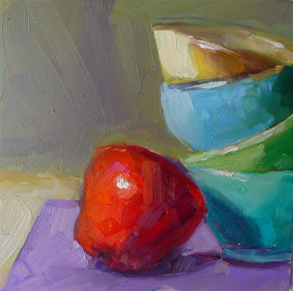 """Apple and bowls"" original fine art by Carol Josefiak"