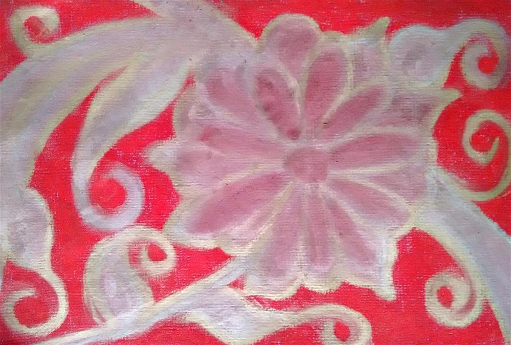 """Silver Flower in Red"" original fine art by Adéla Svobodová"
