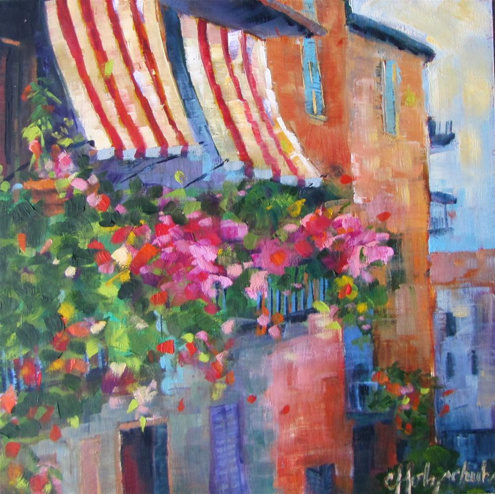 """""""Awnings 6x6  oil  $100"""" original fine art by Christine Holzschuh"""
