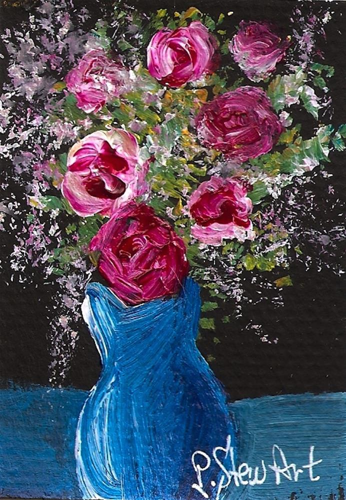 """""""ACEO 7 Roses in a Blue Pot Acrylic Original OOAK, Painterly Style"""" original fine art by Penny Lee StewArt"""