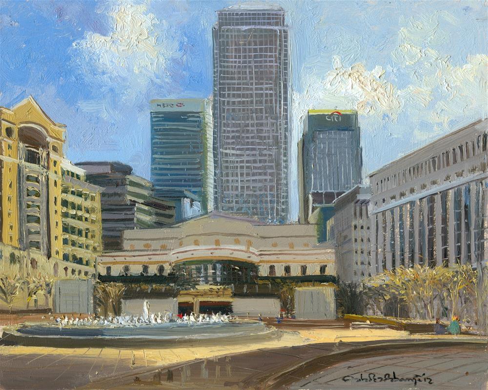 """""""Cabot Square, Canary Wharf"""" original fine art by Adebanji Alade"""
