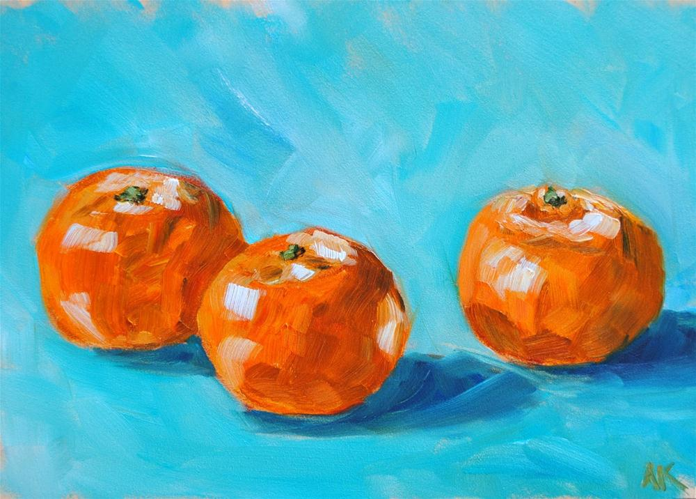 """Three Clementines"" original fine art by Alison Kolkebeck"