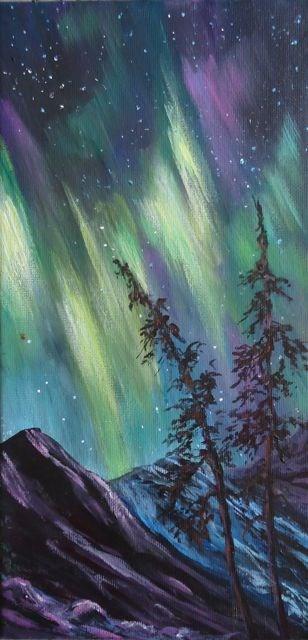 """""""Starry Yukon Night"""" original fine art by Jackie Irvine"""
