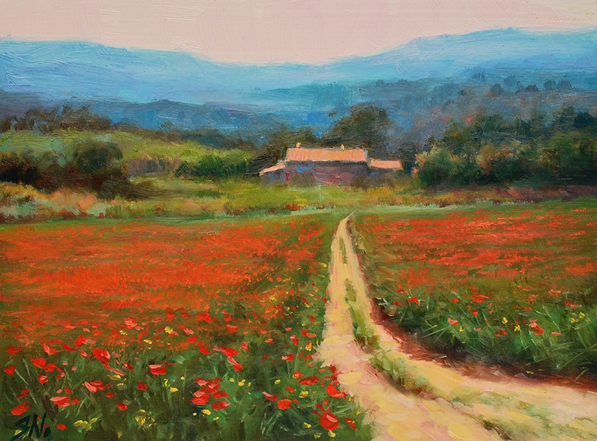 """Poppy field  - French countryside, Landscape oil painting"" original fine art by Nick Sarazan"