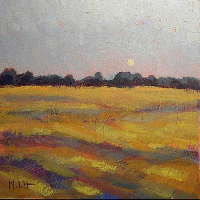 """Harvest Moon Gallery Sale contemporary impressionism original oil painting"" original fine art by Heidi Malott"