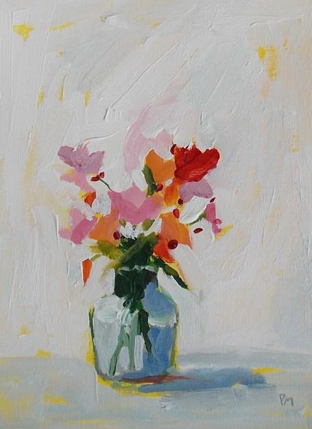 """Wildflowers in Little Glass vase"" original fine art by Pamela Munger"