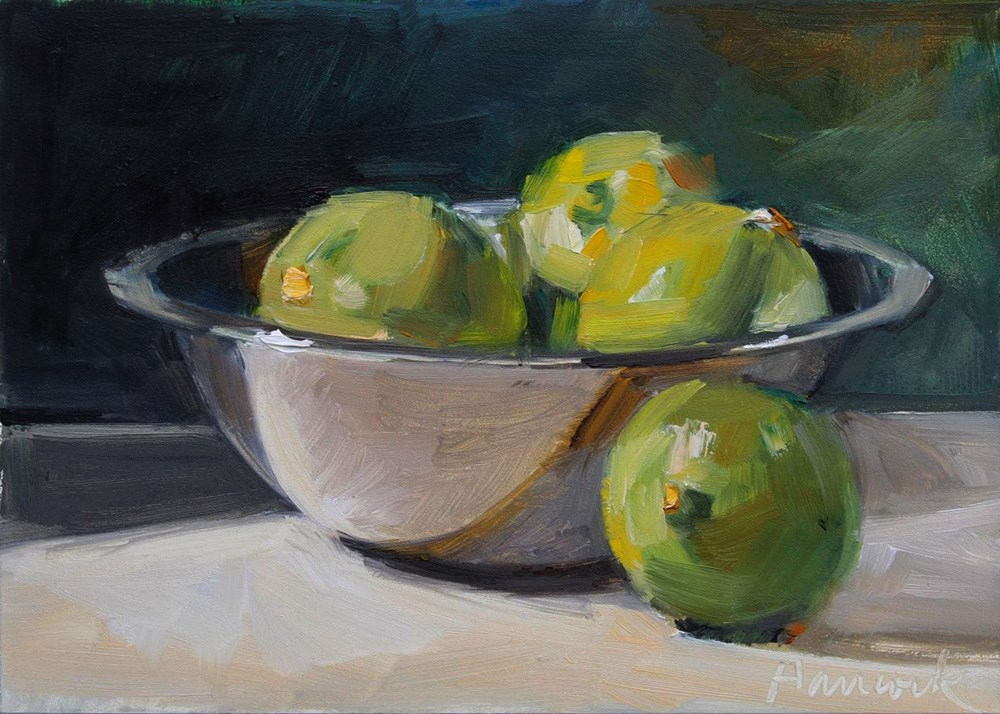 """Silver Bowl with Limes"" original fine art by Gretchen Hancock"