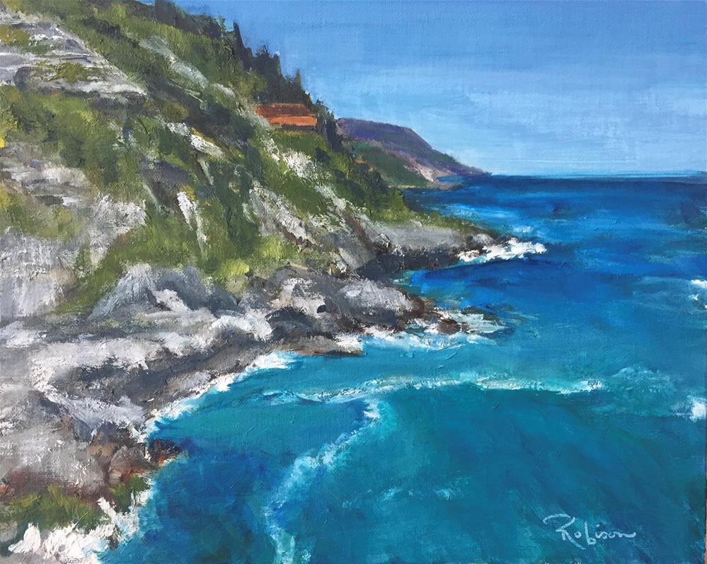 """Rearview of Vernazza"" original fine art by Renee Robison"