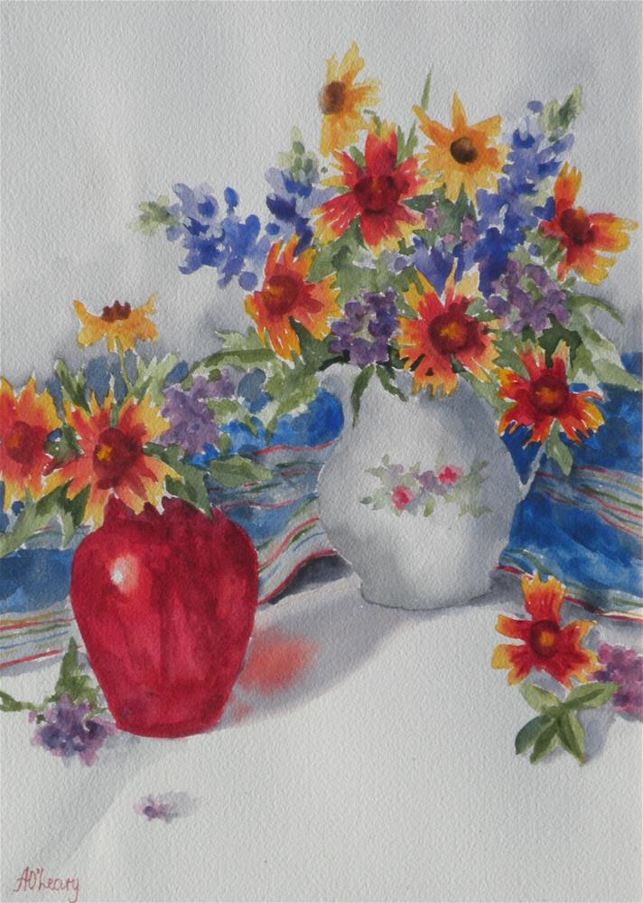 """Wild flowers in Enamel"" original fine art by Alice O'Leary"